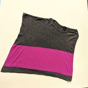 Gray Purple Knit Poncho Color Block L XL Boho Soft